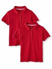 Girls School Uniform Short Sleeve Interlock Polo 2-Pack Value Bundle Red Xl -O1