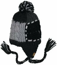 Roxy Juniors Northern Lights Knit Earflap Beanie, Black, One Size