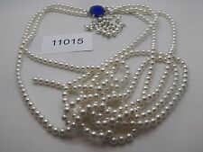 Vintage Jewelry Necklace LONG BEAUTIFUL WHITE BEADS 11015