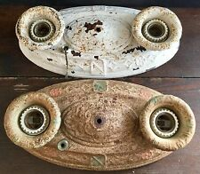 OLD VTG ANTIQUE STAMPED EMBOSSED TIN DOUBLE LIGHT CIELING FIXTURE PAIR LOT OF 2