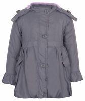Girls Winter Fur Grey Hood Parka Jacket Coat Age Size 2 3 4 5 6 7