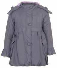 Girls Winter Fur Grey Hood Parka Jacket Coat Age Size 2 3 4 5 6 7