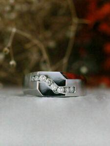 Fancy Men's Engagement & Wedding Channel Set Ring 2.11 Ct Diamond 14k White Gold