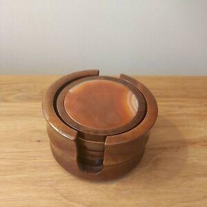 Vintage Orange Geode Set Of 6 Coasters Set In Wood