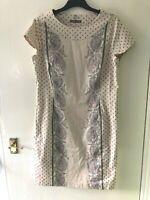 Dress Size Uk 16. Cream Multi. Ladies. Patterned Pencil Dress. By Laura Ashley
