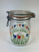 Mid Century  Arc France Glass 1L Canister Tulips Pattern Wire Bale Jar