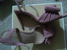 Michael kors pink suede Sandals Heel Size 7 Shoes.nib