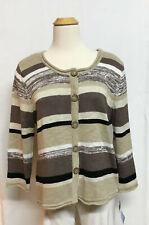 NEW LuLu B button up sweater, M, XL, brown white black stripe, long sleeve