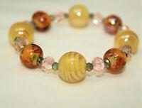 Vintage Pink & Gray Crystal & Yellow ART GLASS Beaded Stretch Bracelet J*