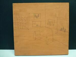 """1989 INNER SCAPE Mike Lash Outsider Folk Art Wood Painting 13.75"""" Ruth Horwich"""