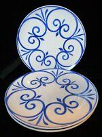 "FITZ & FLOYD EVERYDAY WHITE BLUE SWIRLS 3 DINNER LUNCH PLATES 9"" WIDE"