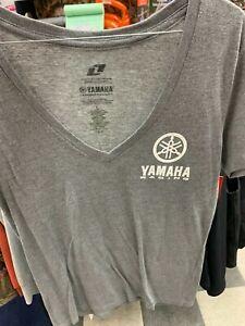 New Yamaha Girls Icon V-Neck T-Shirt ~Gray~L~ # CRW-145TV-GX-LG