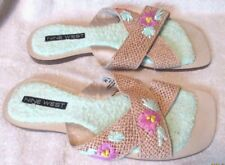 New *NINE WEST* Multi Color Woven Straw, Faux Leather, Slip On, Slides, 9M