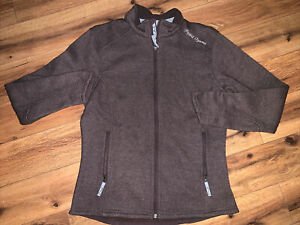WOMENS PEARL IZUMI WOOL JACKET LARGE MINT CONDITION BROWN EMBRDRD LOGO