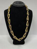 Vintage Signed Trifari  Linked Retro Style Necklace Gold Tone Geometric Design