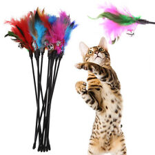 5Pcs/lot Pet Soft Colorful Feather Bell Rod Cat Kitten Playing Interactive Toy