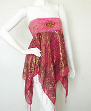 L131 Hippie Gypsy Embroidered Lurex Shimmering Blouse Top / Skirt - S & M