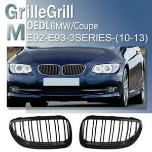 For BMW E92 E93 LCI 10-13 328i 335i Convertible Gloss Black Front Kidney Grilles