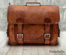 Tan grande marrón estilo Vintage Maletín para Computadora Portátil Bolso Cartera Cuero Artesanal