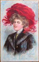 E. H. Kiefer/Artist-Signed 1909 Postcard: Woman in Red Hat - Color Litho