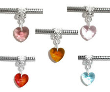10PCs Mixed Heart Crystal Dangle Beads Fit Charm Bracelet