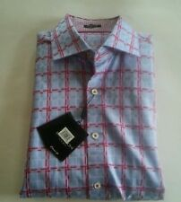 Bugatchi Uomo Classic Fit Blue And Pink Check Long Sleeve Shirt Medium NWT New!