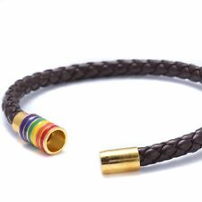Men Bracelet 1pc Black Red Pink Unisex Genuine Leather Braided Rainbow Magnetic