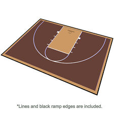 46ft x 30ft Outdoor Basketball Half Court Kit-Lines and Edges Includ-Brown/Beige