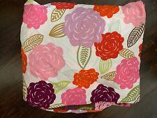 Pottery Barn Teen Pink Brown Duvet Cover Queen  Big Florals Red Reversible Chloe
