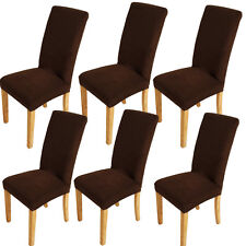 6x Chocolate Super Fit Stretch Short Dining Chair Cover Slipcover Seat Protector