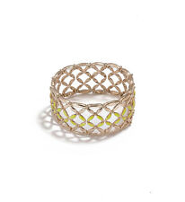 NWT GUESS Signature Lattice Stretch Bracelet Cuff Gold Tone W/ Lime enamel