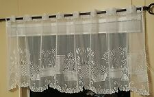 "NEW Heritage LACE Window Garden VALANCE Tier Panel 60"" x 24"" White Flower SPRING"