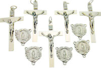 Set of 10 Silver Plate Rosary Parts Crucifix Miraculous Mary Centerpiece Italy
