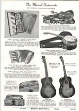 1939 PAPER AD Rex Brand Arched Body Standard Guitar Castelli Accordion