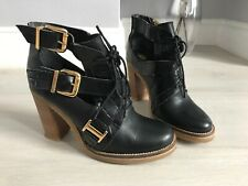 River Island Black Leather Cut Out Ankle Boots Size 5