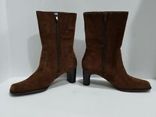 White Mt Womens Brown Suede Ankle Boots Size 7 M