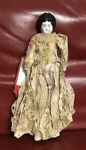 "Award Winning Antique China Head Doll 11"" Original Clothing"