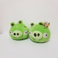 """Angry Birds Lot of 2 Green Pigs King Pig Crown Normal 5"""" Plush Commonwealth"""