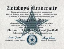 COWBOYS DALLAS FAN NFL  MUST HAVE CERTIFICATE   DIPLOMA GIFT MAN CAVE