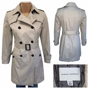 BANANA REPUBLIC Classic Golden Beige Cotton Trench Coat Size S Petite