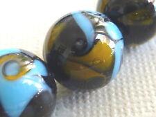 Designer Lampwork Glas Perle Kugel rund 12  mm blau gelb braun 2724