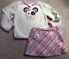 GYMBOREE Outfit 3T VINTAGE LOT Summer Fall Winter SET Plaid Skirt Sweater BEAR