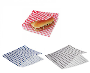 QUALITY Check Burger Bags with Slit Gingham Greaseproof Bags with 2 sides Open