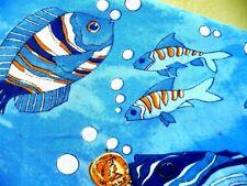 LAVON VTG 90S S M FISH SEA PEARL COIN PRINT BEACH BEADS BLOUSE RAYON SHIRT WOMEN