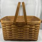 Vintage Large 1997 Longaberger Rectangular Picnic Basket Two Handles