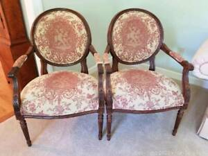Ethan Allen Wood and Burgundy and Cream Tapestry Arm Chairs - item 13-7106