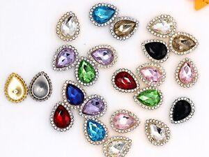 20 Pcs Silver Rhinestone Bling Crystal Flatback Teardrop Buttons 14X18mm Weddin
