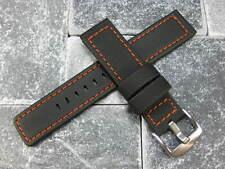 20mm Rubber Diver Strap Watch Band Maratac Orange Stitch for Planet Ocean PO 20
