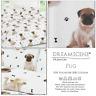 Cute PUG Dog Paw Print Doggy Bone Reversible Duvet Quilt Cover Set Bedding Set