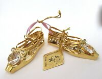 Ornament/Figurine- BALLET SLIPPERS   24k gold plated- Austrian crystals --clear